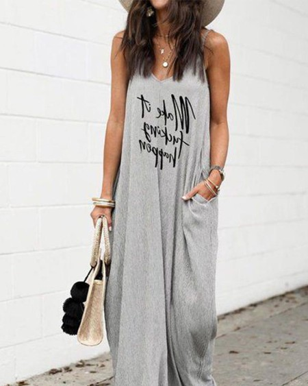 Casual V Neck Sleeveless Maxi Dress