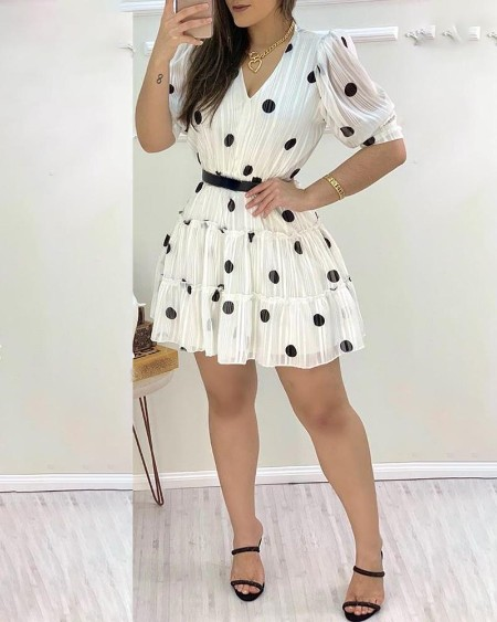 Polka Dots Mesh Puff Sleeve Ruffles Casual Dress