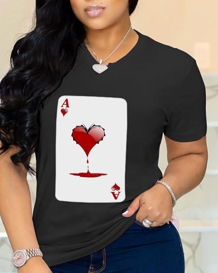 Heart Poker Print Short Sleeve Casual T-shirt