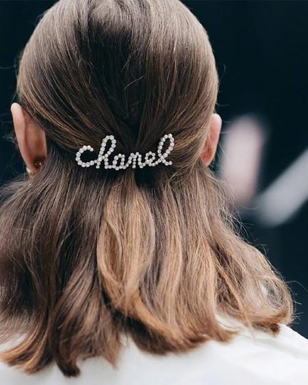 Letter Pattern Studded Hair Clip
