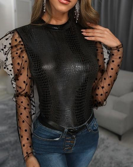 Sheer Mesh Dot Puffed Sleeve Snakeskin Blouse