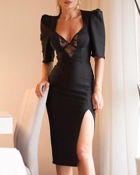 9a1192e771d0 Mesh Lace Insert Puffed Sleeve Slit Dress ...