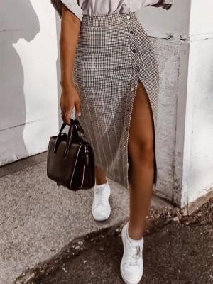 Grid Button Design Slit Slinky Skirt