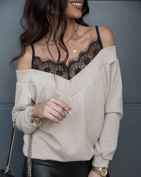 Lace Patchwork Spaghetti Strap Cold Shoulder Sweater