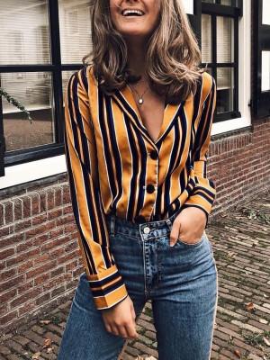 Contrast Stripes Deep V Long Sleeve Blouse