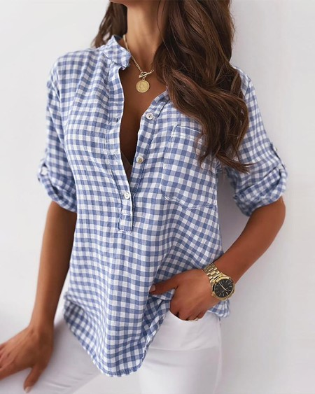 Plaid Buttoned Half Sleeve Casual Top