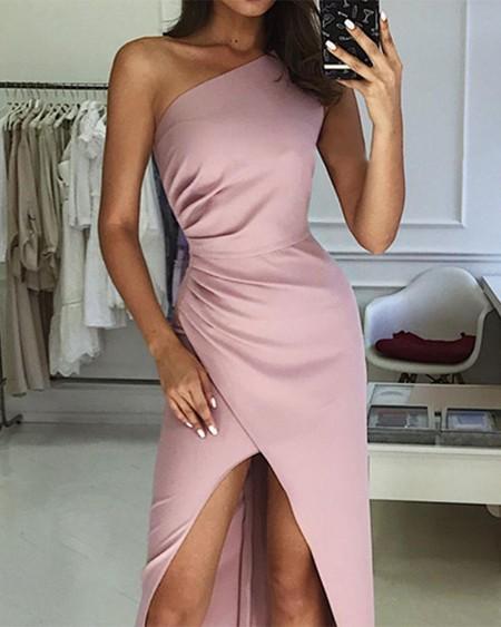 One Shoulder Scrunch Waist Split Party Dress
