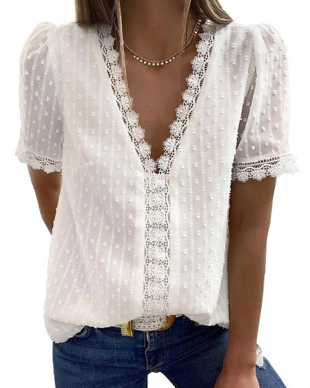 V-Neck Swiss Dots Lace Insert Casual Blouse