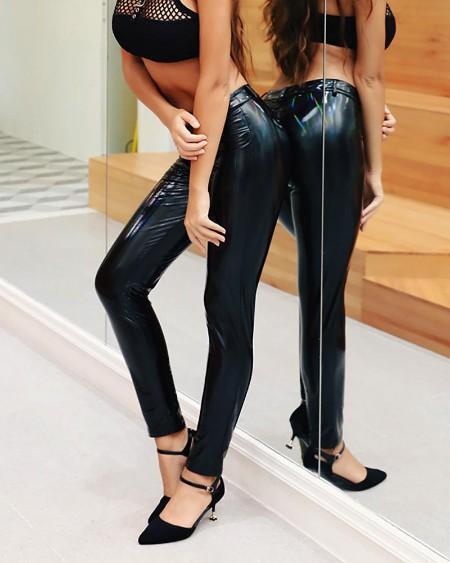 boutiquefeel / Solid High Waist Slinky PU Pants