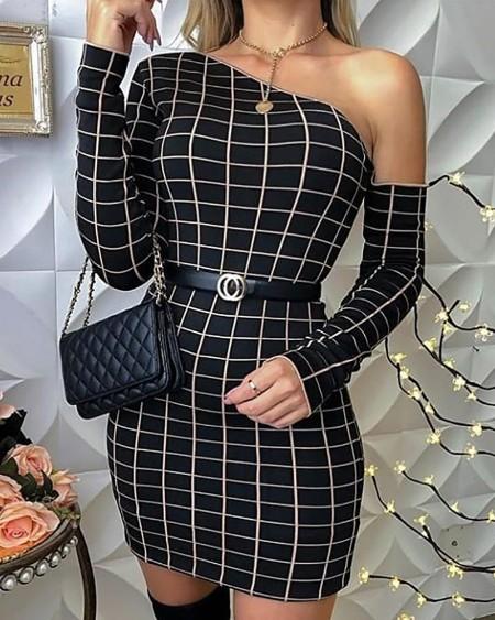 One Shoulder Grid Print Bodycon Dress
