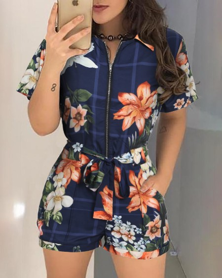 Floral Print Zipper Design Casual Romper