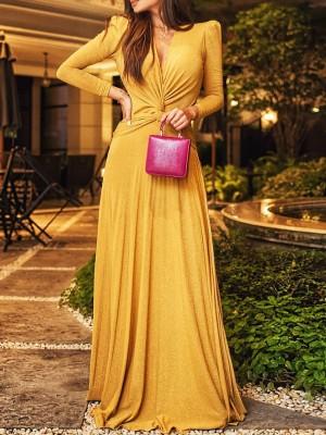 Glitter Twisted Waist Ruched Evening Dress