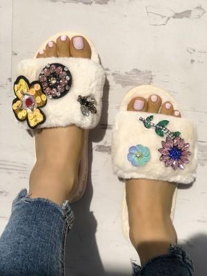 Faux Fur Rhinestone Embellished Flat Slippers