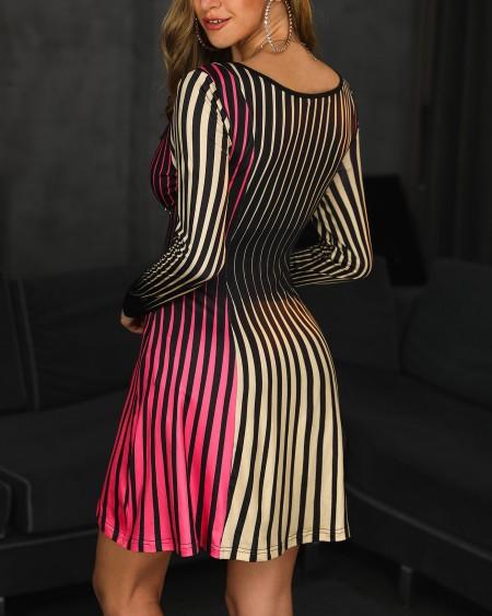 Colorful Striped Square Neck Casual Dress