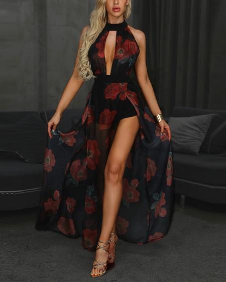 Floral Print Halter Cutout High Slit Maxi Romper Dress