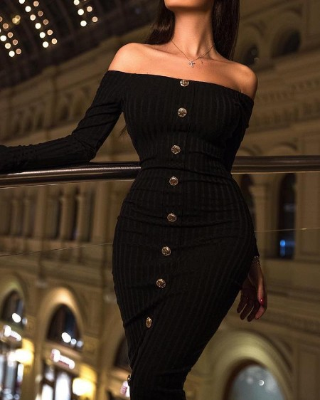 Off Shoulder Button Design Bodycon Dress