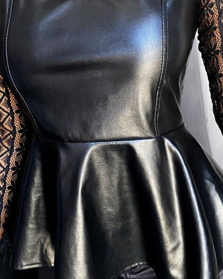 Mock Neck Long Sleeve Lace PU Leather Blouse