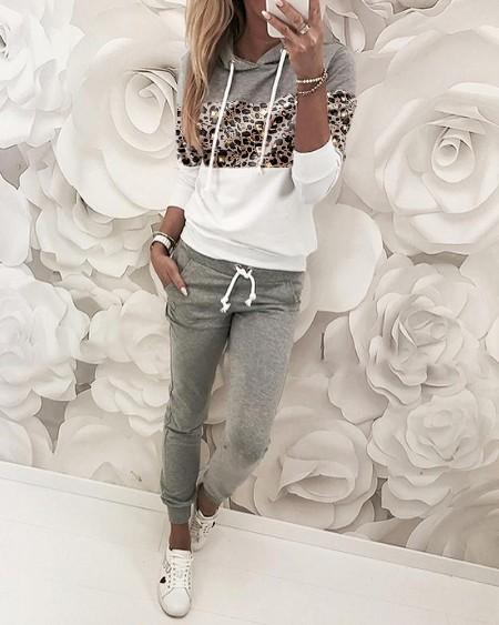 Leopard Print Insert Hooded Top & Pants Sets