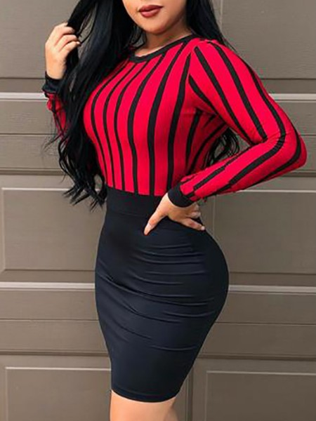 Striped Splicing Keyhole Back Bodycon Dress