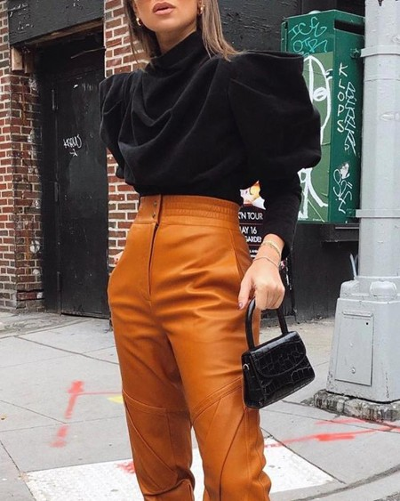 Solid Cowl Neck Puff Sleeve Top