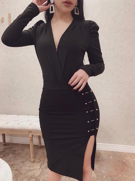 V-Neck Metal Embellished Slit Side Bodycon Dress