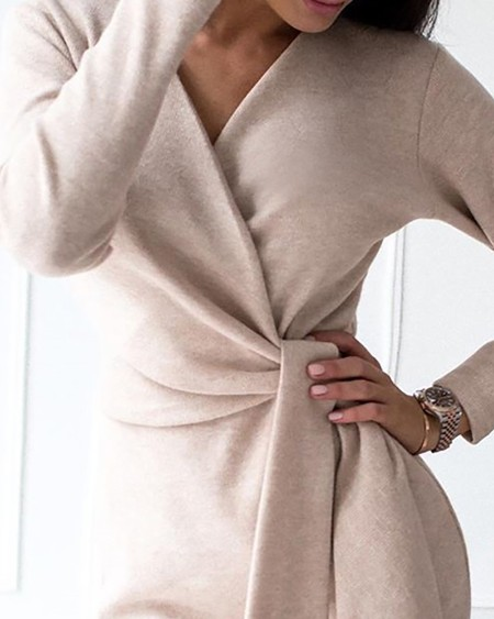 Solid V-Neck Long Sleeve Ruched Tied Bodycon Dress