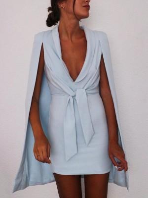 Solid Drape Neck Knot Front Cloak Design Mini Dress