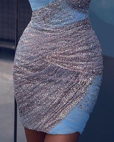 Bandage Asymmetric Mesh Patchwork Mini Dress
