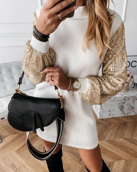 Lantern Sleeve Sequins Insert Dress