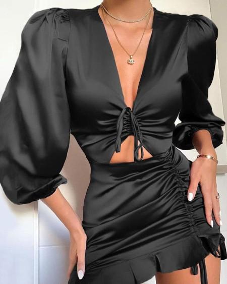 boutiquefeel / V Neck Tie Detail Dress