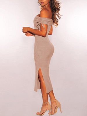 Fold-Over Off Shoulder Drawstring Bodycon Dress