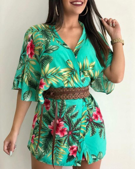 Tropical Print Half Sleeve Cover Up & Short Sets