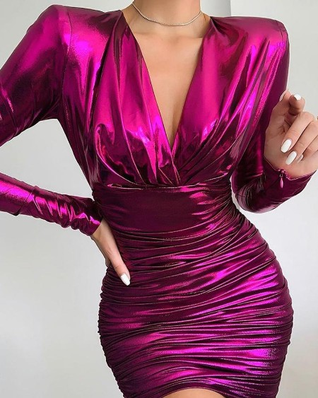 Tight Waist Long Sleeve Bodycon Dress