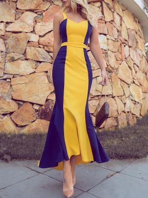 Contrast Color Pep Hem Maxi Dress