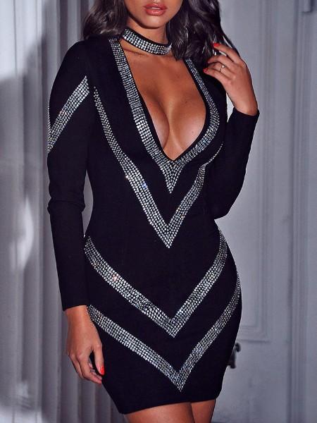 Deep V-Neck Gem-Studded Bodycon Dress