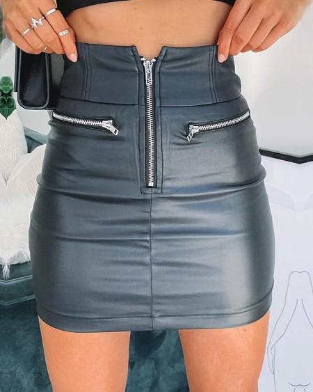Zipper Design High Waist Mini Skirt