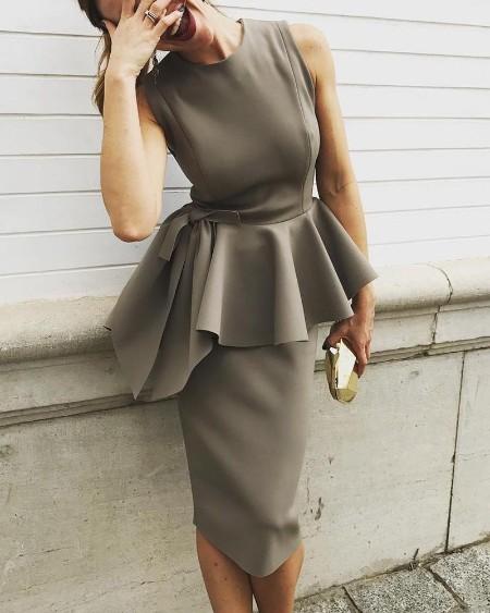 Solid Irregular Peplum Bodycon Dress