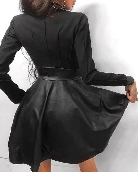 Zipper Pockets Design PU Leather Dress