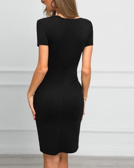 Print Insert Short Sleeve Bodycon Dress