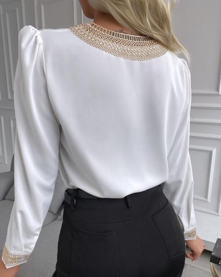 V Neck Lace Trim Long Sleeve Top