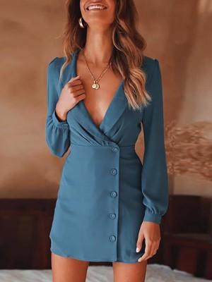 Solid Button Design Ruched Blazer Dress