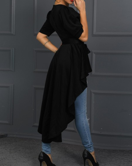 Solid Knot Front Dip Hem Casual Top