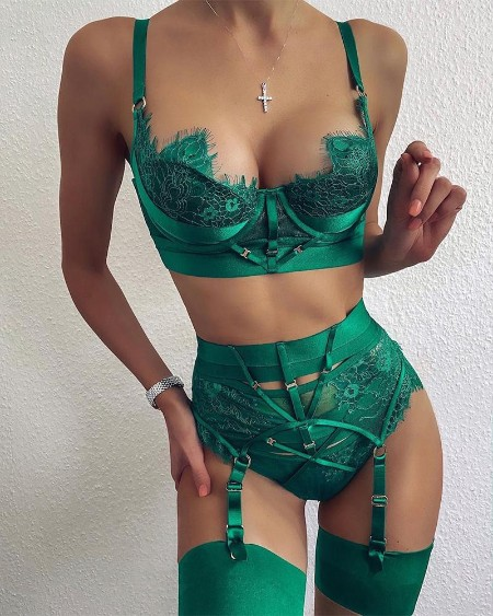 Eyelash Lace Garter Lingerie Set