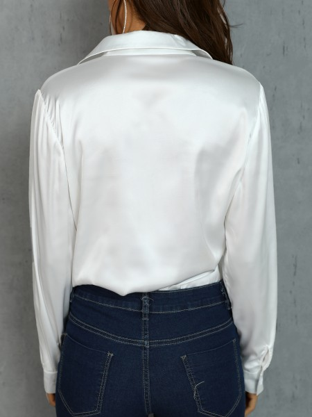 Satin Button Up Long Sleeve Blouse