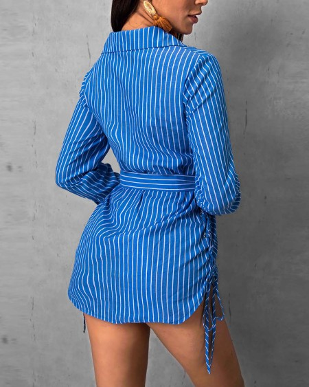 Striped Lace-Up Side Shirt Dress