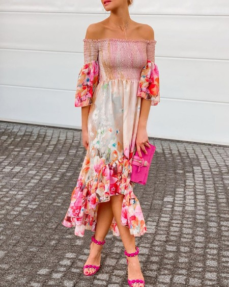 Off Shoulder Bell Sleeve Floral Print Dress