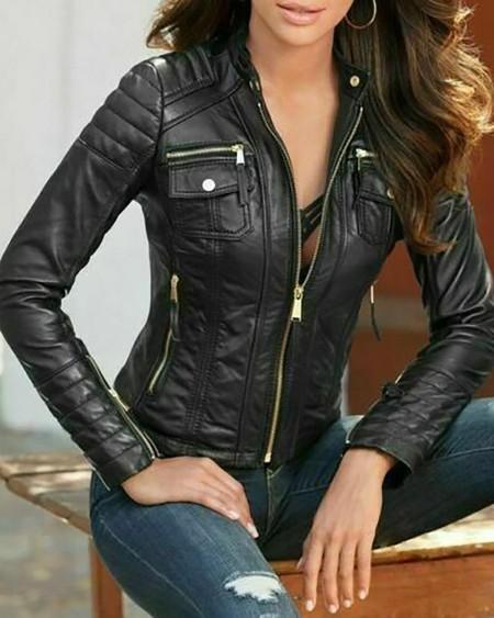 Zipper Pocket Design Long Sleeve PU Leather Coat