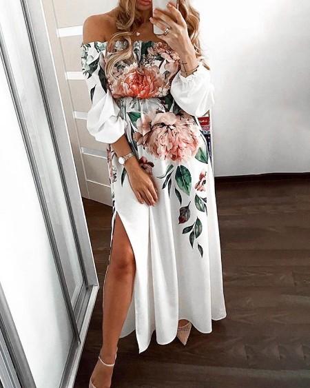 Floral Print Off Shoulder High Slit Maxi Dress