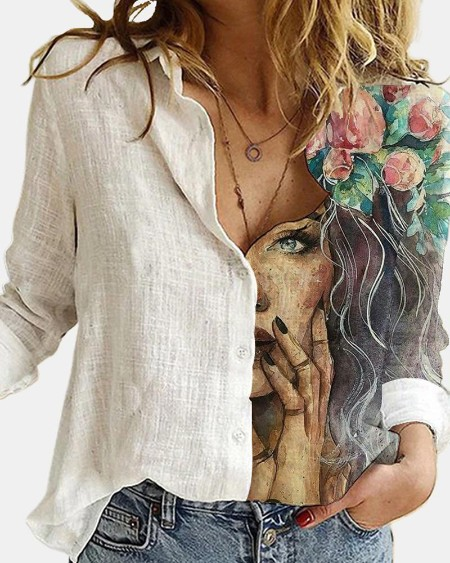 Woman Floral Printing Long Sleeve Loose Blouse