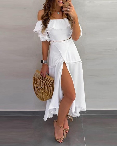 Off Shoulder Ruffle Tops Split Skirt Sets